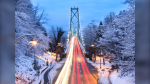 'Rush hour on the snowy Lions Gate' captured by photographer Jesse Simons on Tuesday, Jan. 14, 2020. (Submitted through our app, Weather Watch by CTV Vancouver)