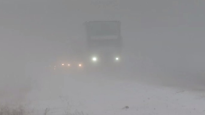 Motorists were faced with blowing snow and whiteout conditions on Nova Scotia's Highway 102 on Jan. 17, 2020.