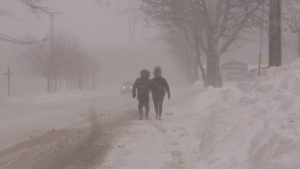 Pedestrians brave the elements during a snowstorm in Sydney, N.S., on Jan. 17, 2020.