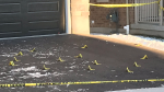 Evidence markers at the scene of a shooting in Waterloo's Vista Hills neighbourhood. (Jan. 17, 2020)