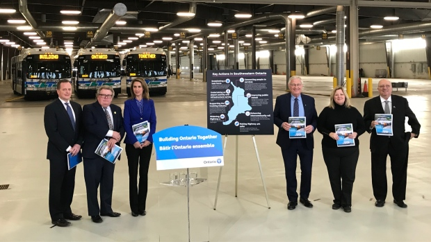 Officials gather for a transportation announcement in London, Ont. on Friday, Jan. 17, 2020. (Sean Irvine / CTV London)