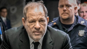 Harvey Weinstein leaves a Manhattan courthouse after a second day of jury selection for his trial on rape and sexual assault charges, Thursday, Jan. 16, 2020, in New York. (AP Photo/Bebeto Matthews)