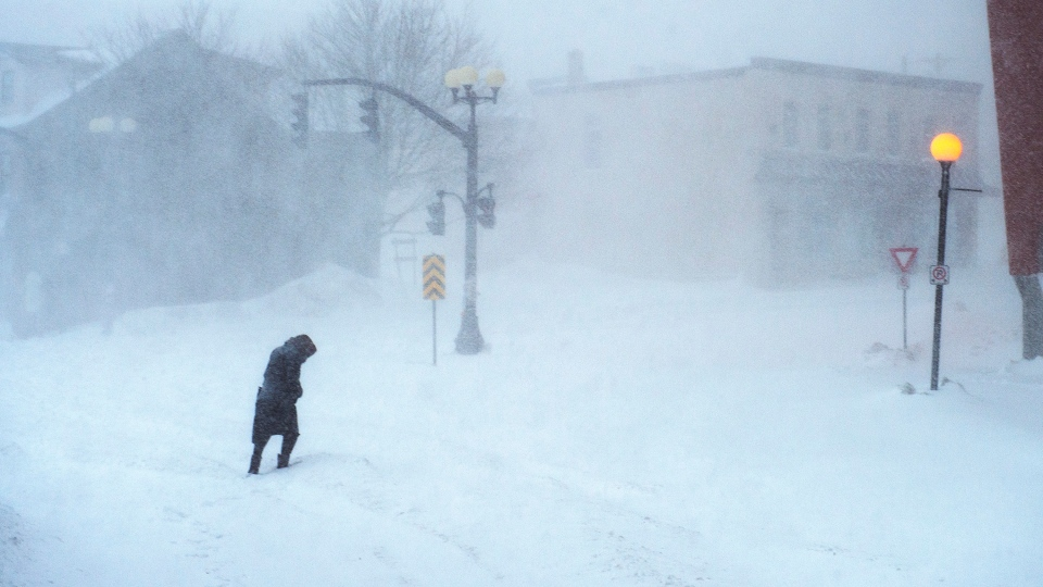 A woman makes her way through the snow-covered streets in St. John's on Friday, January 17, 2020. The City of St. John's has declared a state of emergency, ordering businesses closed and vehicles off the roads as blizzard conditions descend on the Newfoundland and Labrador capital. (THE CANADIAN PRESS/Andrew Vaughan)