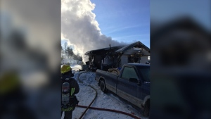 Trailer fire on Black Lake Road in Lively. Jan. 17, 2020 (Sudbury Acting Deputy Fire Chief Jesse Oshell)