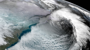 A large storm is seen hangs over Newfoundland in this satellite image taken at 2:40 p.m. EST on January 17, 2020. (NOAA)