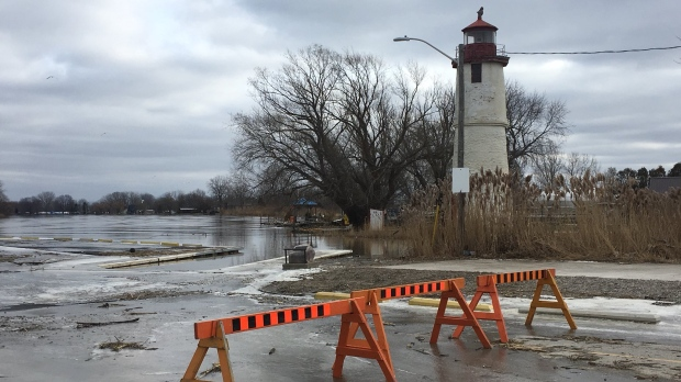 Flooding turns to ice at Lighthouse Cove in Lakeshore, Ont., on Friday, Jan. 17, 2020. (Chris Campbell / CTV Windsor)