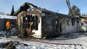 Mobile home destroyed by fire in Lively Jan. 17, 2020 (Dana Roberts/CTV Northern Ontario