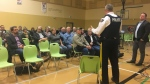 Supt. Kevin Kunetzki speaks at a public town hall in Swift Current to talk about policing in southwest Saskatchewan. (Cole Davenport/CTV News Regina)