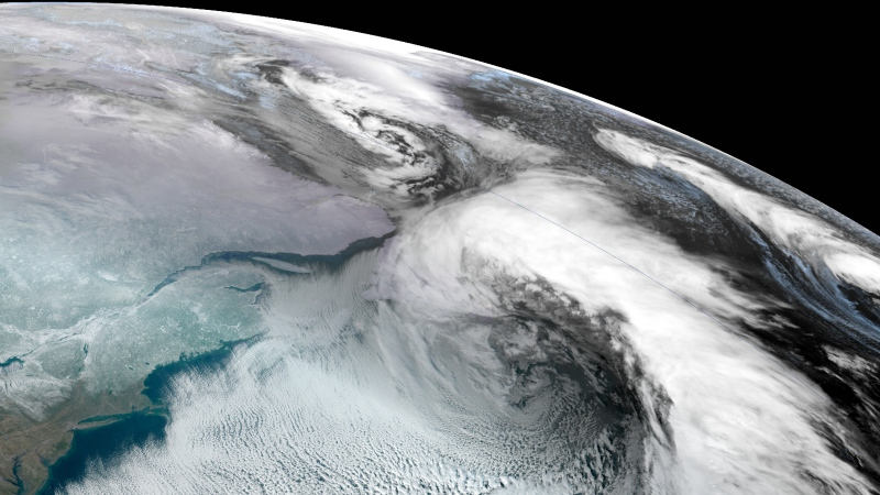A image of the winter storm hitting Atlantic Canada is captured by NOAA on January 17, 2020.