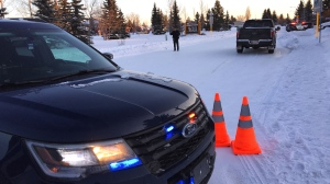 Police surrounded the area of Lymburn Elementary due to a man barricading himself in a nearby residence, Friday, Jan. 17, 2020. (CTV News Edmonton)