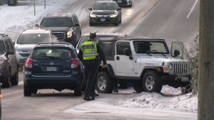 While the snow had stopped on southern Vancouver Island Friday, icy conditions remained, leading to vehicle accidents and pedestrian falling injuries: Jan. 17, 2020 (CTV News)