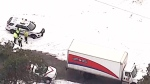 Driver injured when ice falls on Canada Post truck