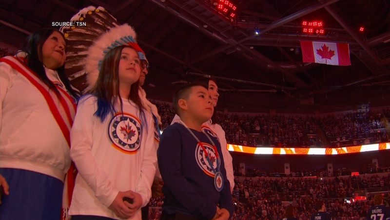 Strong Warrior Girls Anishinaabe Singers led the stadium in the singing of Oh Canada in Ojibwa, during the Winnipeg Jets game on Jan. 17, 2020. (Source: TSN)