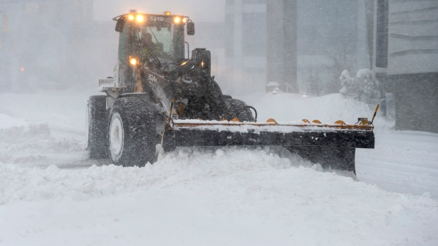 A snow plow clears the streets in St. John's on Friday, January 17, 2020. THE CANADIAN PRESS/Andrew Vaughan