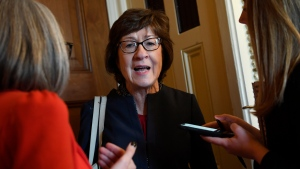 In this Jan. 15, 2020, photo, Sen. Susan Collins, R-Maine, talks to reporters on Capitol Hill in Washington. (AP Photo/Susan Walsh)