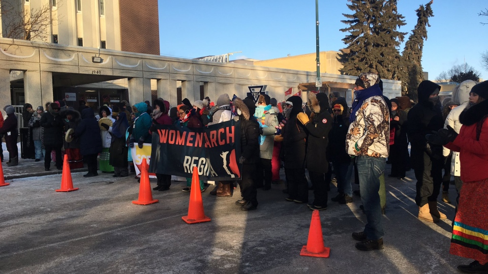 Hundreds came out to take part in the Regina Women's March despite frigid temperatures in the Queen City. (Cole Davenport/CTV News)