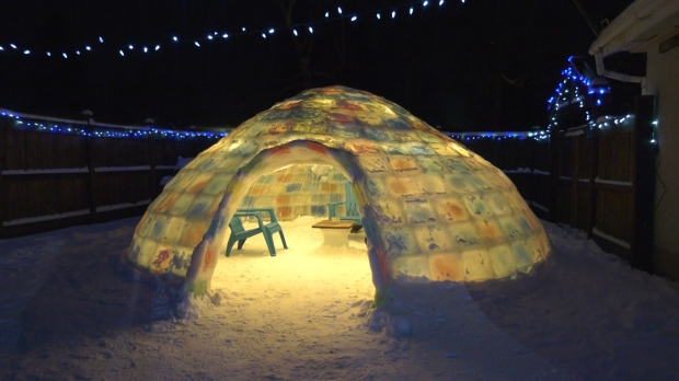 Chris Schrettlinger has spent the last five weeks building an igloo in his backyard