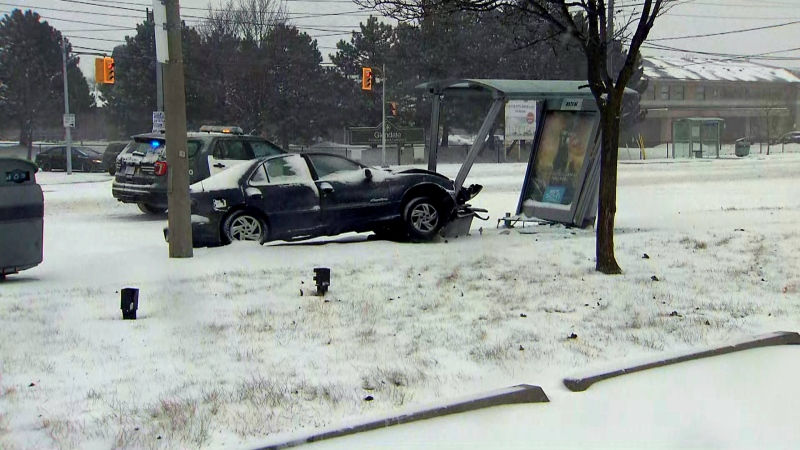 A woman is in critical condition after her vehicle crashed into a bus shelter in Etobicoke Saturday morning. (CTV News Toronto)
