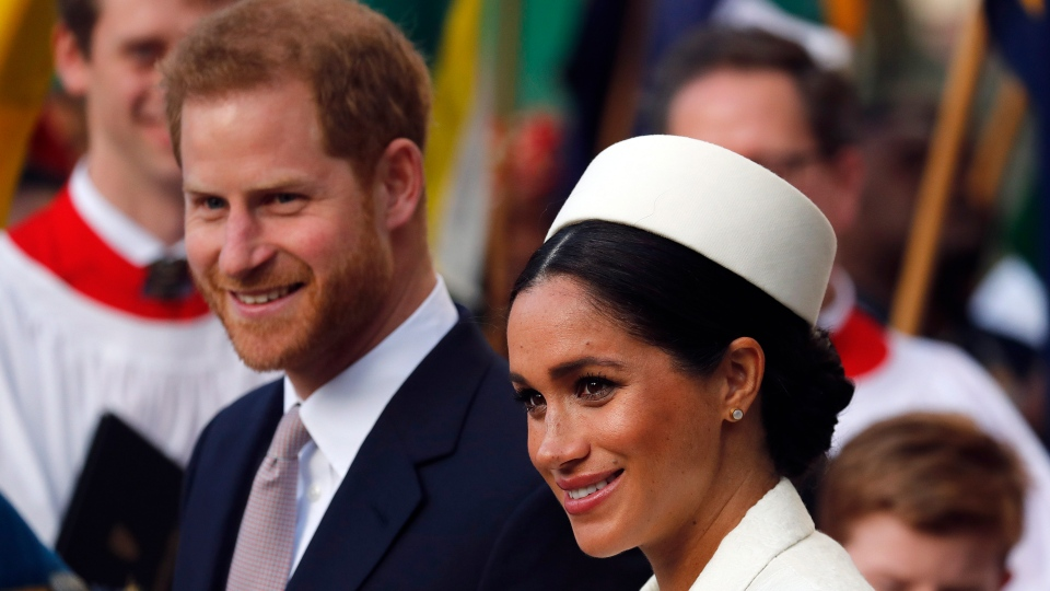 In this Monday, March 11, 2019 file photo, Prince Harry and Meghan leave after the Commonwealth Service at Westminster Abbey in London. (AP Photo/Frank Augstein)