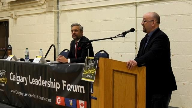 Peter Downing, leader of Wexit, and David Khan, leader of the Alberta Liberal Party, debated Alberta separation in Calgary on Jan. 18, 2020.