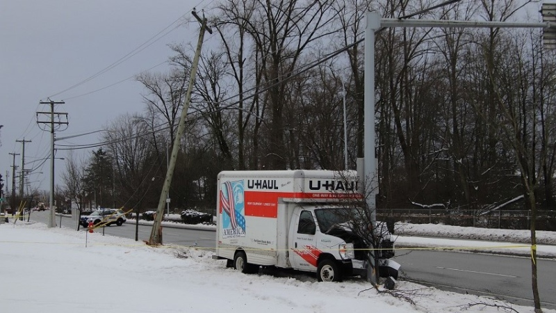 Mounties in Surrey are investigating after a U-Haul truck crashed into a utility pole in their city Saturday morning. (CTV)