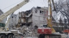 The city is demolishing a historic apartment building on Maryland Street. (Source: CTV News/Dan Timmerman)