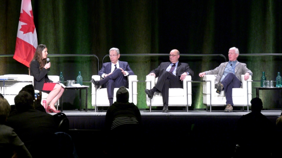 From left to right, Joe Oliver, former finance minister of Canada, Jack Mintz, current President's Fellow at the University of Calgary's School of Public Policy, and Ted Morten, ormer Alberta finance minister and political science professor at the University of Calgary, participate in a panel discussion.