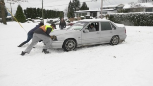 Several drivers could be seen struggling to navigate the roads near downtown Chilliwack Saturday morning. (CTV)
