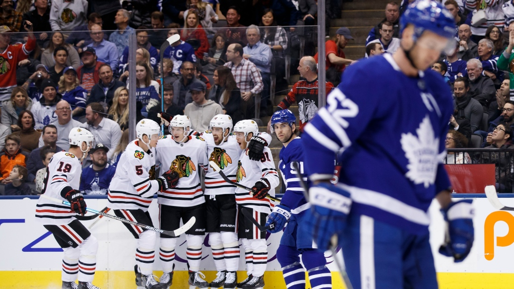 Toews, Blackhawks thump Maple Leafs 6-2 to send Toronto into break on sour note