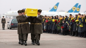 In this photo provided by the Ukrainian Presidential Press Office, honour guard carry a coffin of the one of the eleven Ukrainian victims of the Ukrainian 737-800 plane that crashed on the outskirts of Tehran, at Borispil international airport outside Kyiv, Ukraine, Sunday, Jan. 19, 2020. (Ukrainian Presidential Press Office via AP)