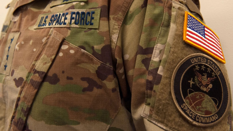 The new U.S. Space Force has shown off its utility uniform, which has drawn confusion online for its camouflage design. (U.S. Space Force / CNN)