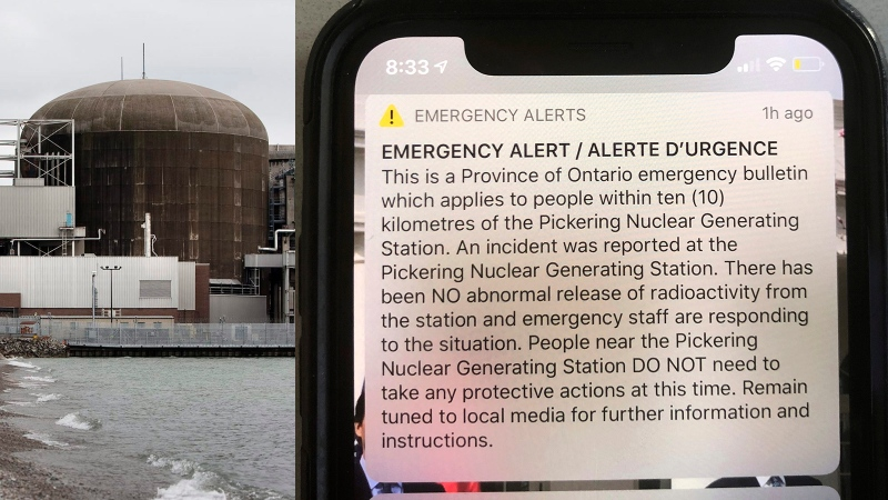 A false emergency alert about an incident at the Pickering Nuclear Generating Station was sent on Jan. 12, 2020.