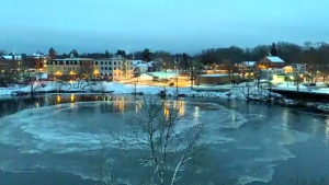 Second ice disk taking shape in river