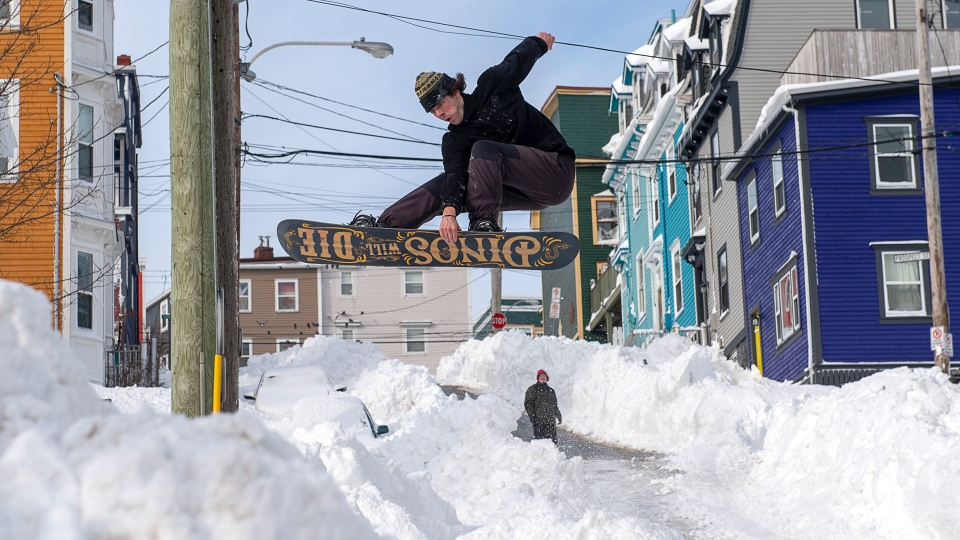 A snowboarder takes advantage of prime conditions in St. John's on Sunday, Jan. 19, 2020. (THE CANADIAN PRESS / Andrew Vaughan)
