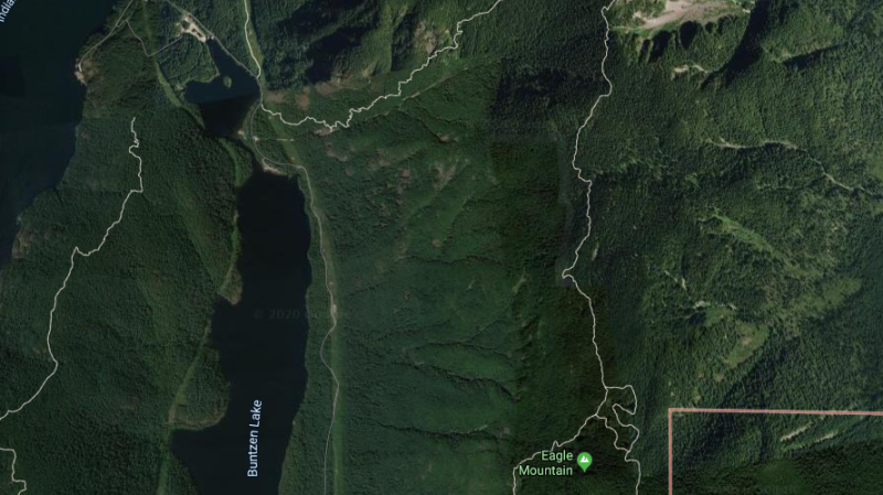 A Coquitlam search and rescue team walked all night through heavy snow on a steep trail near Eagle Mountain to find five young snowshoers who had gotten lost on Saturday, Jan. 18, 2020. (Google map)