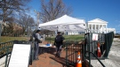 Fencing and magnetometers are set up around Capitol Square for the anticipated pro gun rally at the Virginia State Capitol Sunday, Jan. 19, 2020, in Richmond, Va. (AP Photo/Steve Helber)