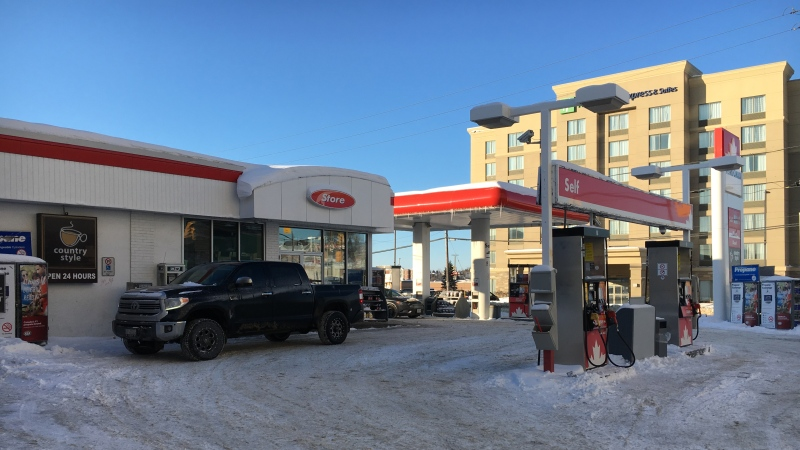 Timmins Police officials say this was the sight of an robbery early Sunday morning (Lydia Chubak/CTV Northern Ontario)