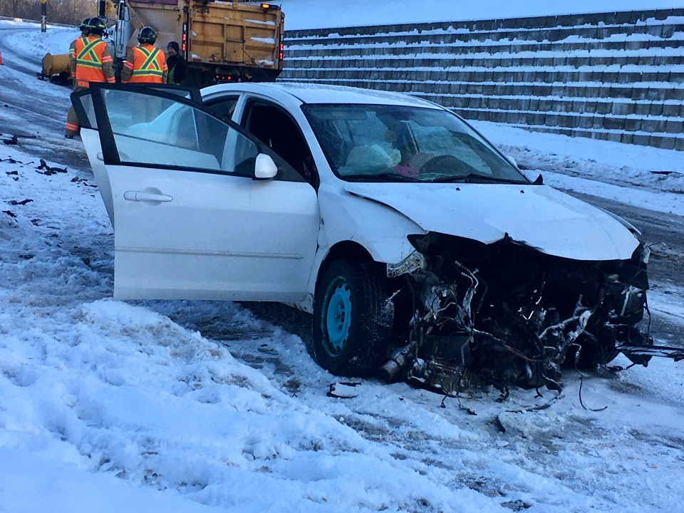 Car vs. snow plow on Pond Mills Road in London, Ont. on Jan. 19, 2020. (Jim Knight/CTV London)