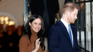 In this Jan. 7, 2020, file photo, Prince Harry and Meghan, Duchess of Sussex leave after visiting Canada House in London, after their recent stay in Canada. (AP Photo/Frank Augstein, File)