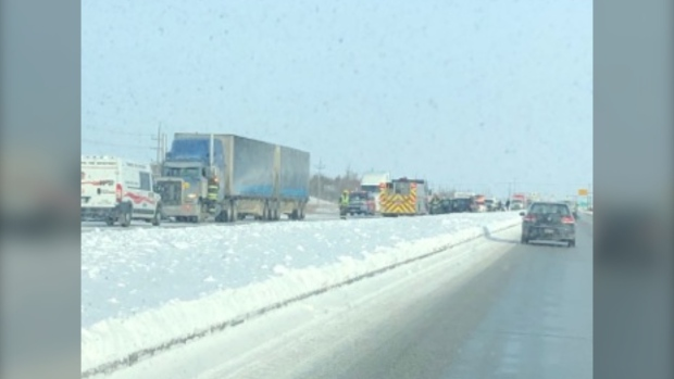Winnipeg's Perimeter Highway was closed for several hours after a multi-vehicle collision. (Source: Elizabeth Braun)