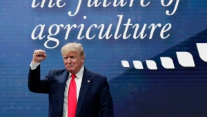 U.S. President Donald Trump attends the American Farm Bureau Federation Annual Convention in Austin, Texas, Sunday, Jan. 19, 2020. (AP Photo/Eric Gay)