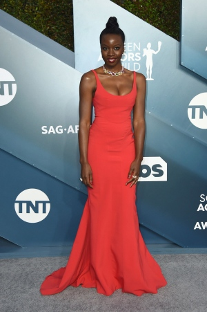 Danai Gurira arrives at the 26th annual Screen Actors Guild Awards at the Shrine Auditorium & Expo Hall on Sunday, Jan. 19, 2020, in Los Angeles. (Photo by Jordan Strauss/Invision/AP)