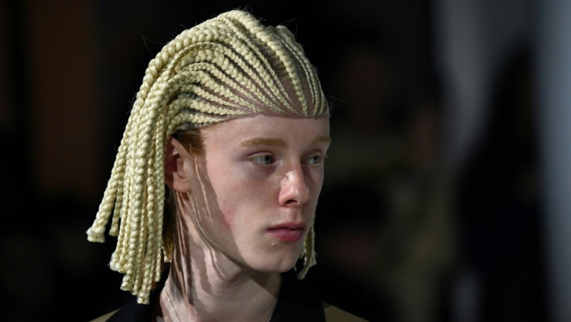 One of the cornrow wigs worn by white models at the Paris Comme des Garcons show. (AFP)