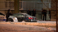 Montreal police respond after discovering a gun had been fired in an apartment building on Lacordaire Blvd. and de Charleroi St. (Photo: Cosmo Santamaria/CTV News Montreal)