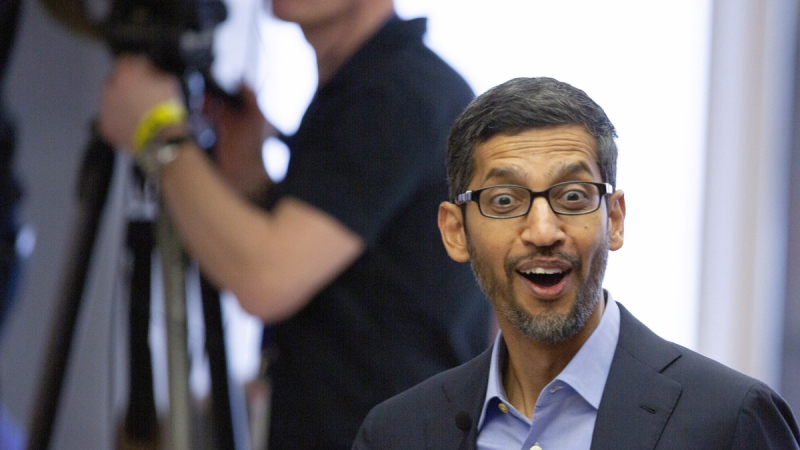 Google's chief executive Sundar Pichai in Brussels, on Jan. 20, 2020. (Virginia Mayo / AP)