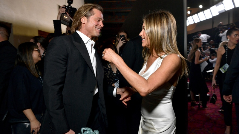 Brad Pitt and Jennifer Aniston attend the 26th Annual Screen Actors Guild Awards in L.A., on Jan. 19, 2020. (Emma McIntyre / Getty Images for Turner)
