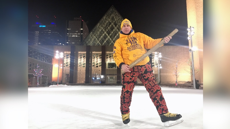 Steve McNeil takes a moment to pose during his 19 hour and 26 minute skate at Edmonton's City Hall on Jan. 20, 2020. (Evan Klippenstein/CTV News Edmonton)