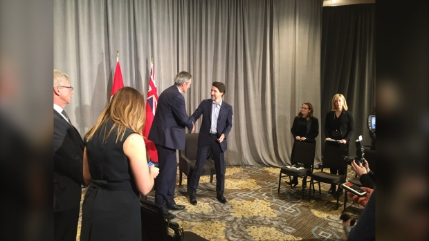 Trudeau and Pallister meet in Winnipeg. (Source: Jeff Keele/CTV News Winnipeg)