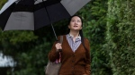 In this Oct. 3, 2019, file photo, Huawei chief financial officer Meng Wanzhou, who is out on bail and remains under partial house arrest, carries an umbrella to shield herself from rain as she leaves her home in Vancouver, to attend a court hearing. (Darryl Dyck/The Canadian Press via AP, File)