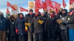 Union members speak at the Co-Op Refinery speak on Jan. 20, 2020 (Marc Smith / CTV News Regina)